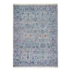Minuet Rug in Mist – Caitlin Wilson Comfy Reading Chair, Spotted Wallpaper, Pastel House, Parade Of Homes, White Home Decor, Custom Rugs, Rug Cleaning, Floral Motif, Home Buying