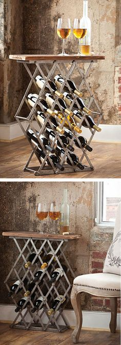 Rustic Wood Top 12-Bottle Wine Rack //  I need this...Now to find it.