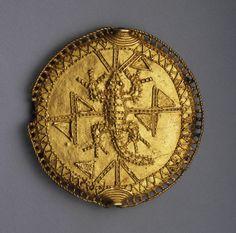 Disk pendant or pectoral badge Late 19th century Akan(Asante)