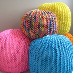 Knitted version of a bean bag, love it!  Large Knit Pouf - Bright Blue - Not stuffed. $75.00, via Etsy.