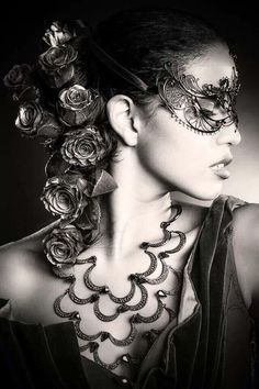 Find images and videos about glamour, beauty and femme on We Heart It - the app to get lost in what you love. Masquerade Costumes, Masquerade Party, Venetian Masks, Beautiful Mask, Green Eyes, Black And White Photography, Her Hair, Lady In Red, Red Roses