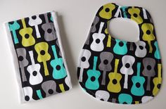 Bib and Burp Cloth Set Groovy Guitar by charlottechicstore