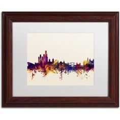 Trademark Fine Art Amsterdam Netherlands Skyline Canvas Art by Michael Tompsett, White Matte, Wood Frame, Size: 16 x 20, Purple