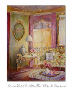Romantic Parisian interior © Atelier Flont Postcards The colours on this postcard are lovely Shabby Chic Art, Feminine Decor, Paper Doll House, Interior Rendering, Interior Design, Up Book, Romantic Cottage, Art Et Illustration, Rose Art
