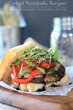 "Seriously the best ""faux burger"" I have ever had! Grilled Portobello Burgers with Balsamic Reduction 