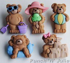 SUMMER BEARS - Beach Seaside Boy Girl Teddy Novelty Dress It Up Craft Buttons