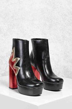 FOREVER 21 Metallic Flame Platform Boots