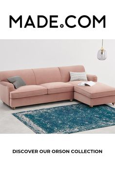 Orson Right Hand Facing Chaise End Sofa Bed, Vintage Pink Velvet Sofa Bed Vintage, Velvet Corner Sofa, Rose Vintage, Canapé Angle Convertible, Flat Shapes, Pink Bedding, Pink Velvet, Drawing Room, Home Furnishings