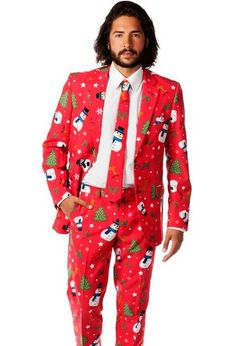 The Opposuits clothing company has taken the ugly Christmas sweater craze to the next level by creating boldly-colored suit outfits full of Christmas cheer. They combine the best of ugly holiday sweaters and stylish suit and jacket outfits. Ugly Sweater Suit, Ugly Christmas Sweater Suit, Ugly Sweater Party, Christmas Jumpers, Christmas Sweaters, Christmas Outfits, Christmas Trees, Christmas Hats, Classy Christmas