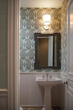 powder beadboard bathroom gray paisley walls pedestal mirror rooms beaded sink lower