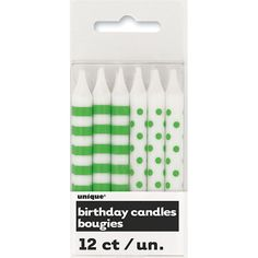 Lime Green Decorative Dots and Stripes Party Candles – Pack of 12 | Partyrama.co.uk