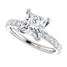 Moissanite Engagement Ring  Princess Cut Forever One  1 Carat Moissanite  18k White Gold  Diamonds  Contemporary Engagement Ring