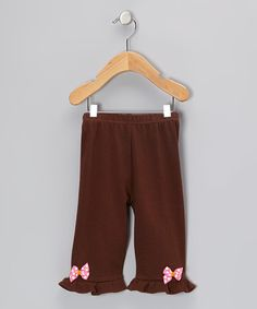 Take a look at this Brown Fuchsia Owl Bow Pants - Infant & Toddler by Petunia Petals on #zulily today!