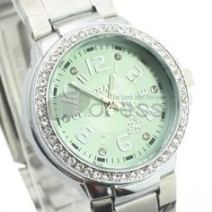 Ladies Green personalized steel strip watch