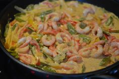 Fish And Seafood, Lchf, Shrimp, Recipies, Spaghetti, Dinner Recipes, Food And Drink, Meat, Ethnic Recipes
