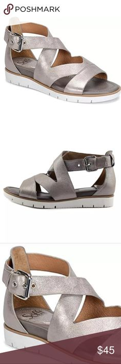 Sofft   Mirabelle Open Toe Gladiator Sandal Color is a light pewter, Shimmer. White sole. Super comfortable! True to size. Excellent condition, just dirty on the sole. Sofft Shoes Sandals