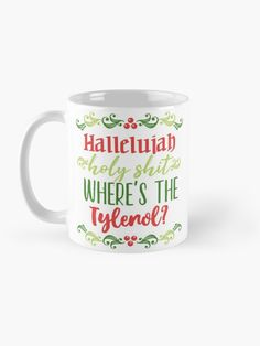 """""""Hallelujah, holy sh*t"""" Mug by ninthstreet   Redbubble Cotton Tote Bags, Holi, Nerdy, Coasters, Kids Outfits, Cool Designs, Tapestry, Mugs, Tableware"""