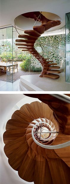 Wooden sprial staircase is just a tiny part of the 3,000m2 lavish contemporary homestead designed by Jouin Manku of Paris architectures YTL Design Group.