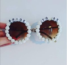 These bride sunglasses are the perfect statement hen party accessory for the bride who was born to stand out. Hen Party Accessories, Bride Accessories, Etsy Uk, Round Sunglasses, Bling, Handmade, Gifts, Jewel, Hand Made
