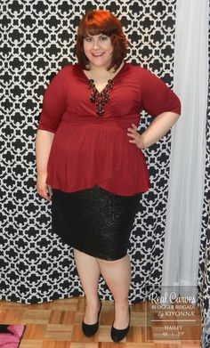 """Here, blogger @Hailey {Discourse of a Divine Diva} (5'9"""") dresses up our plus size Haven Faux Wrap Top with a beautiful sequin skirt and heels. Love it!  www.kiyonna.com  #KiyonnaPlusYou  #Plussize  #MadeintheUSA  #Kiyonna  #OOTD"""