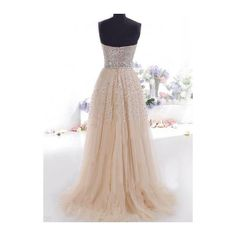 Rotita Apricot Sequin Embellished Strapless Prom Dress ($15) ❤ liked on Polyvore featuring dresses, gowns, strapless gown, print maxi dress, sequin maxi dress, strapless maxi dress and prom gowns