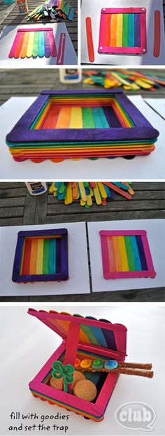 Rainbow colored leprechaun trap made from Popsicle sticks. So cute!:
