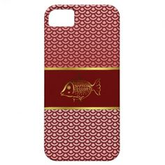 Elegant Asian Inspired Red Scales & Fish iPhone 5 Cases