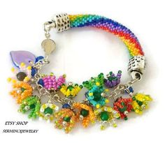 SUMMER SALES Bead crochet bracelet - multi-colored tulips bracelet - Beadwork - Nature spring jewelry - Geometric - Unique Bracelets - Gift by SERMINCEJEWELRY on Etsy