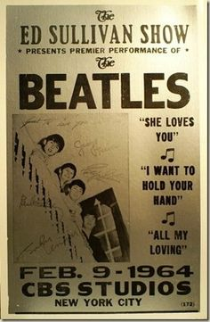 Beatles on Ed Sullivan Show Poster. Visit britishinvasionmusic.com for articles, 300 videos and pictures on The Beatles and over 30 British Invasion artists.