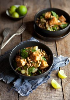 Soba noodle and vegetable stir fry with peanut crusted tofu Photography - Samantha Linsell | DrizzleandDip.com