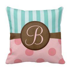 Pink polka dots and teal stripes | monogram