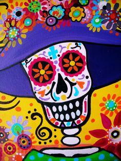 Mexican FOLK ART Day Of The Dead Art Sugar Skull Skulls