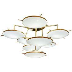 Italian Contemporary Multi Level Brass and White Murano Glass Disk Chandelier 1