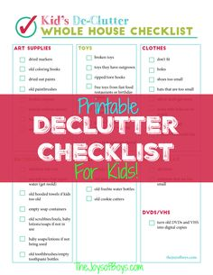 Printable Declutter Checklist for Kid's ClutterEvery time I start decluttering my house, I get overwhelmed with my kids' junk!  This Printable Declutter Checklist will help you to keep the kid's clutter under control in your house.
