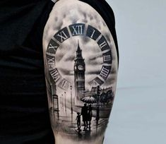 Black and grey realistic tattoo style of London and Big Ben motive done by tattoo artist Dominik Hanus Father Daughter Tattoos, Tattoos For Daughters, Tattoo Sleves, Sleeve Tattoos, Family Tattoos, New Tattoos, Big Ben Tattoo, Clock And Rose Tattoo, Sunset Family Photos