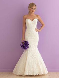 Mermaid Ivory Lace Gorgeous Strapless Sweetheart Wedding Dress