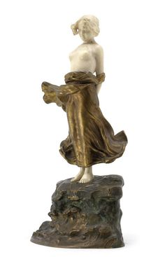 Dominique Alonzo 'Young Girl' a Patinated Bronze and Carved Ivory Model, circa 1920 Bronze Sculpture, Sculpture Art, Sculptures, Art Nouveau, Art Eras, Art Deco Artists, Statues, Art Deco Glass, Name Art