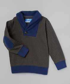 Another great find on #zulily! Navy & Olive Shawl Collar Pullover - Infant, Toddler & Boys #zulilyfinds