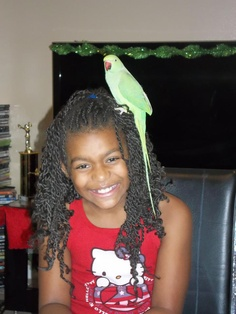 Placing a bird in a wonderful new home..Priceless! Miss Clover with her wonderful new family.