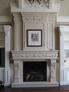 Fireplace Mantels for sale in the USA and Canada. Choose yours among our prestigious collection or create a - one-of-kind - custom chimney mantel for your home. Fireplace Mantels For Sale, Home Fireplace, Faux Fireplace, Fireplace Ideas, Fireplaces, Plaster Mouldings, Moldings, Fireplace Molding, House Trim