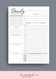 To Do Planner, Daily Planner Pages, Weekly Planner Printable, Study Planner, Planner Layout, Planner Template, Life Planner, Agenda Planner, College Planner