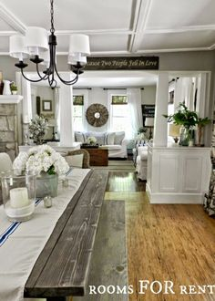 Source: Rooms For Rent.  Rustic farmhouse or country style dining and living room. The best paint colours from Sherwin Williams including Collonade Gray and Softer Tan.  #FarmhouseStyle #Farmhouse #BestPaintColours