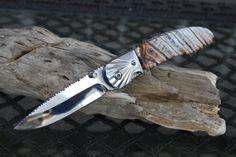 Mammoth Tooth Handmade Folding Pocket Knife, Mirror Polished 440 Stainless Steel, Custom File Work on Blade USA, sheath.