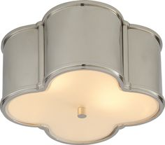 """Visual Comfort - Basil Small Flushmount.  Available in Polished Nickel, Natural Brass, and Gun Metal.  5""""H x 11.25""""W"""