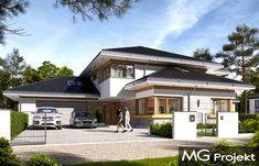 Dom z widokiem 4 Japanese Modern House, Modern Minimalist House, House Layout Plans, House Layouts, Bungalow House Design, Modern House Design, Steel Framing, Building Exterior, Garage House