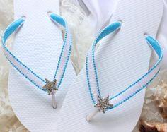 Summer Wedding flip flops Bridal flip flops by AdrianaSantosBridal