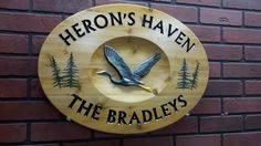 Heron's Haven Sign Wooden Signs With Sayings, Wooden Name Signs, Carved Wood Signs, Custom Wooden Signs, Painted Wood Signs, Cabin Signs, Farm Signs, Richmond Hill Ontario, Driveway Sign
