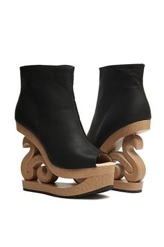 Peeptoe Cut-out Wedge Booties OASAP.com