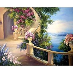 Maher Art Gallery: The artist Anca Bulgaru Photography Studio Background, 5d Diamond Painting, Fantasy Landscape, Anime Scenery, Pictures To Paint, Beautiful Paintings, Landscape Paintings, Beautiful Pictures, Art Gallery