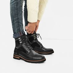 Image 1 of BLACK WORKER BOOTS from Zara